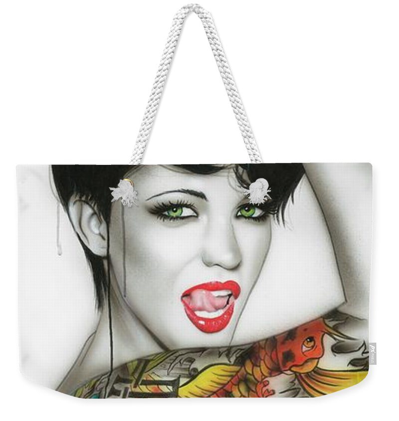Ruby Rose Weekender Tote Bag featuring the painting Ruby by Christian Chapman Art