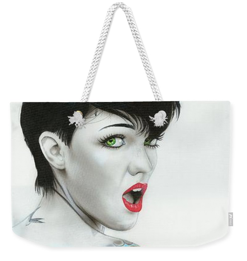 Ruby Rose Weekender Tote Bag featuring the painting Ruby IIi by Christian Chapman Art