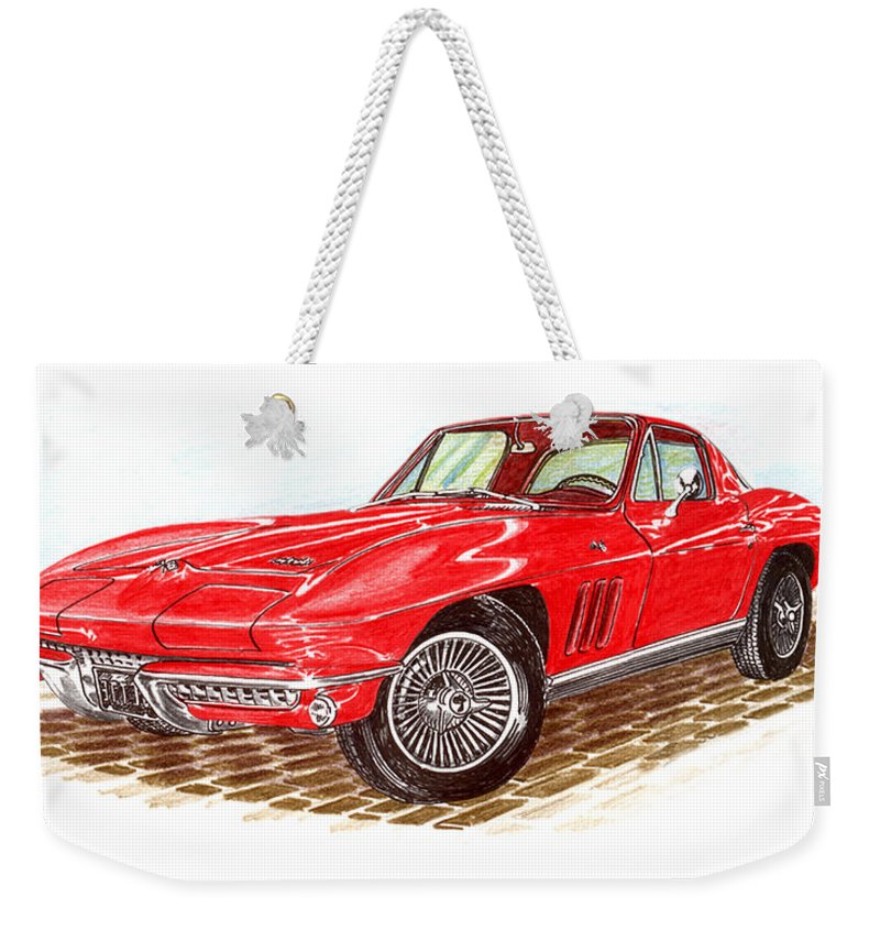 Red 1966 Corvette Stingray Fastback Weekender Tote Bag featuring the drawing Ruby Red 1966 Corvette Stingray Fastback by Jack Pumphrey
