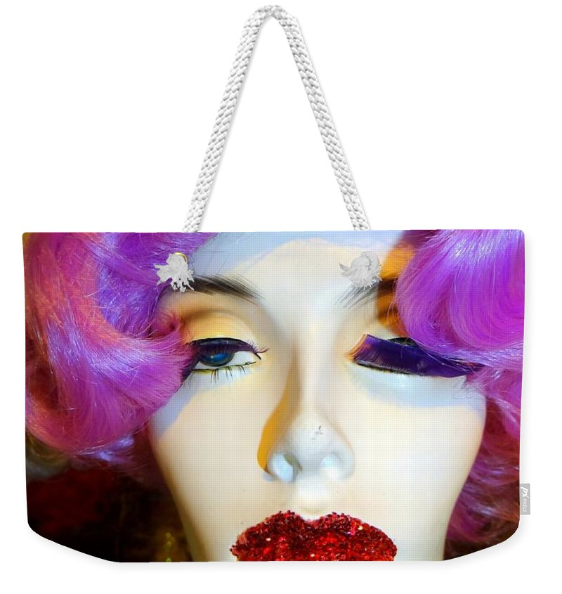 Mannequins Weekender Tote Bag featuring the photograph Ruby Red Lips by Ed Weidman