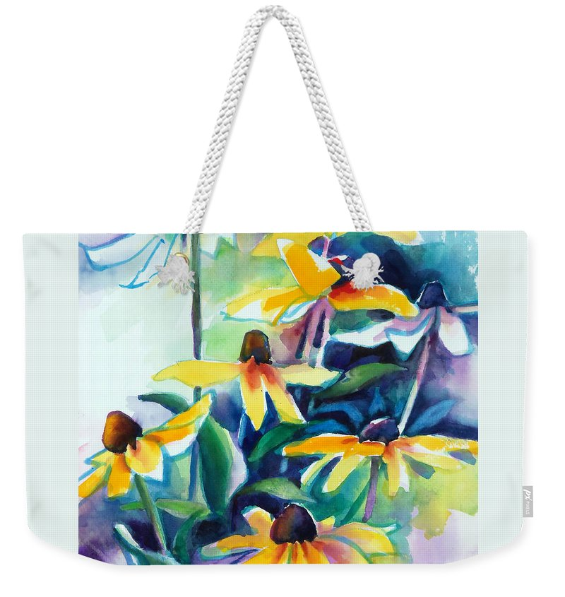 Painting Weekender Tote Bag featuring the painting Rudbecki And Teal by Kathy Braud