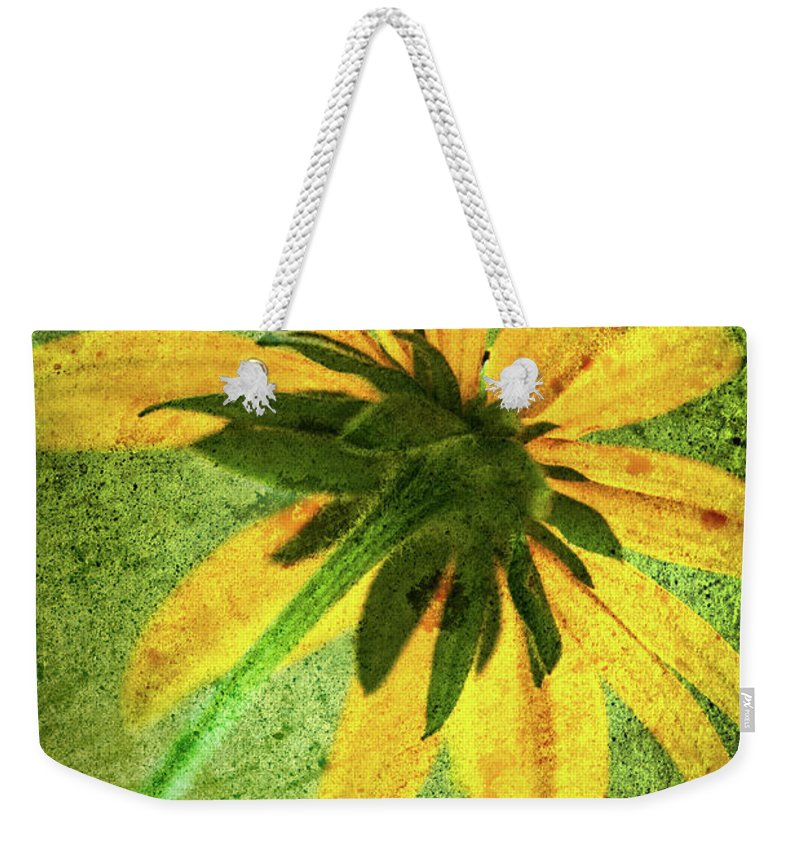 Black-eyed Susan Weekender Tote Bag featuring the photograph Rudbeckia On Cement by Onyonet Photo Studios