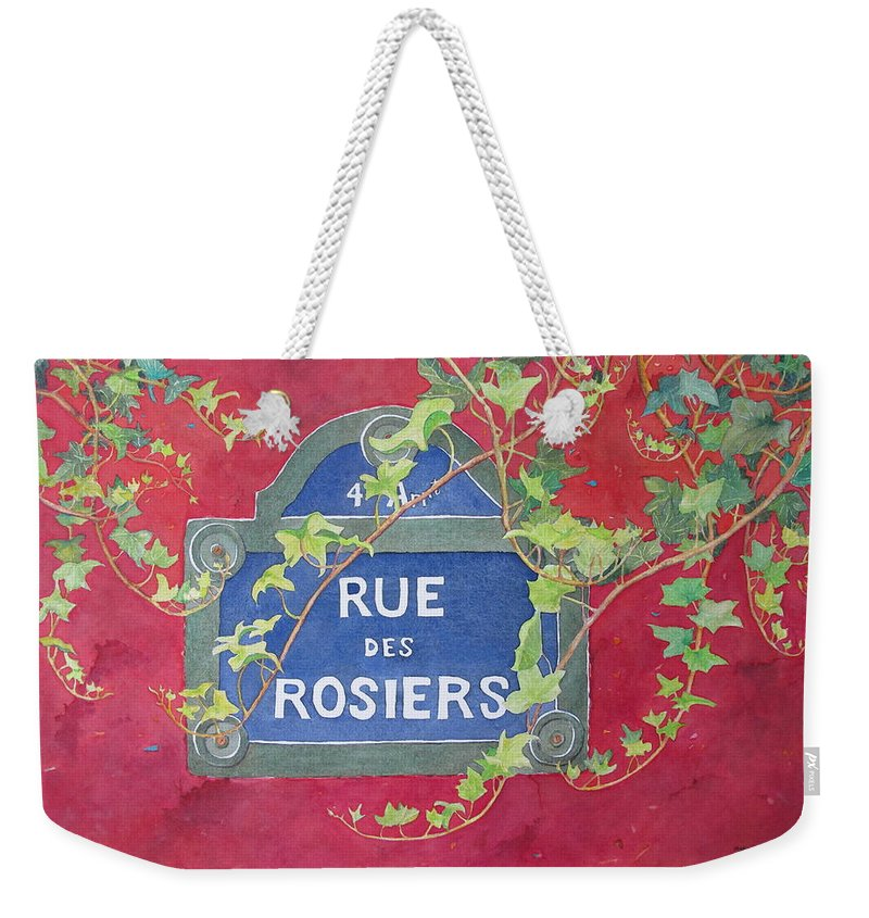 Red Wall Weekender Tote Bag featuring the painting Rue Des Rosiers In Paris by Mary Ellen Mueller Legault