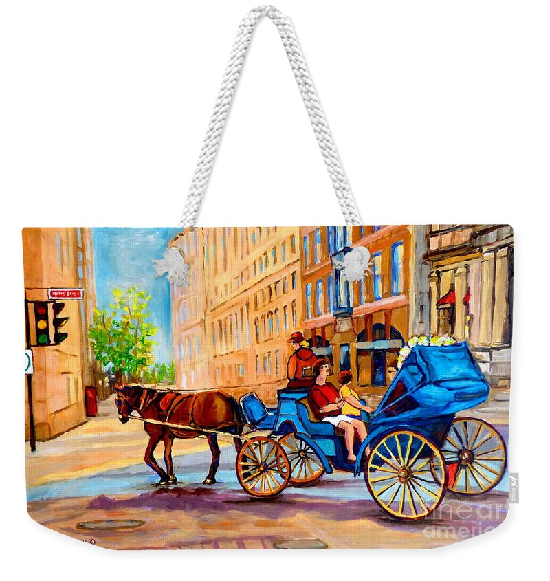 Rue Notre Dame Weekender Tote Bag featuring the painting Rue Notre Dame Caleche Ride by Carole Spandau