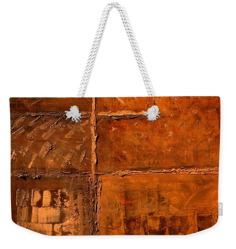 Rugged Cross Weekender Tote Bag featuring the painting Rugged Cross by Linda Bailey