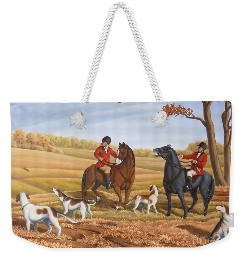 Hunting Weekender Tote Bag featuring the painting Run Fox Run Hunting Painting Commission by Kim Hunter