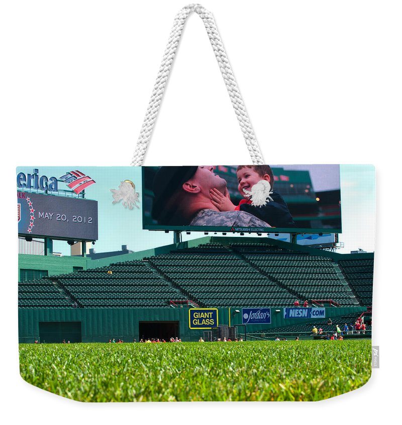 fenway Park Weekender Tote Bag featuring the Run To Home Base 2012 by Paul Mangold