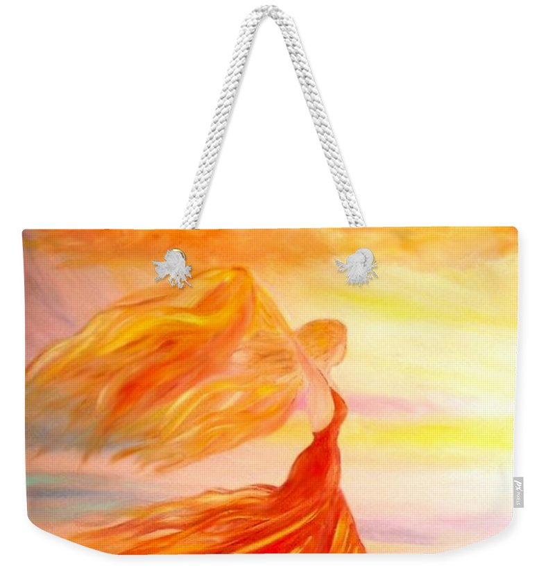 Beach Weekender Tote Bag featuring the painting Running Along The Beach by Lilia D