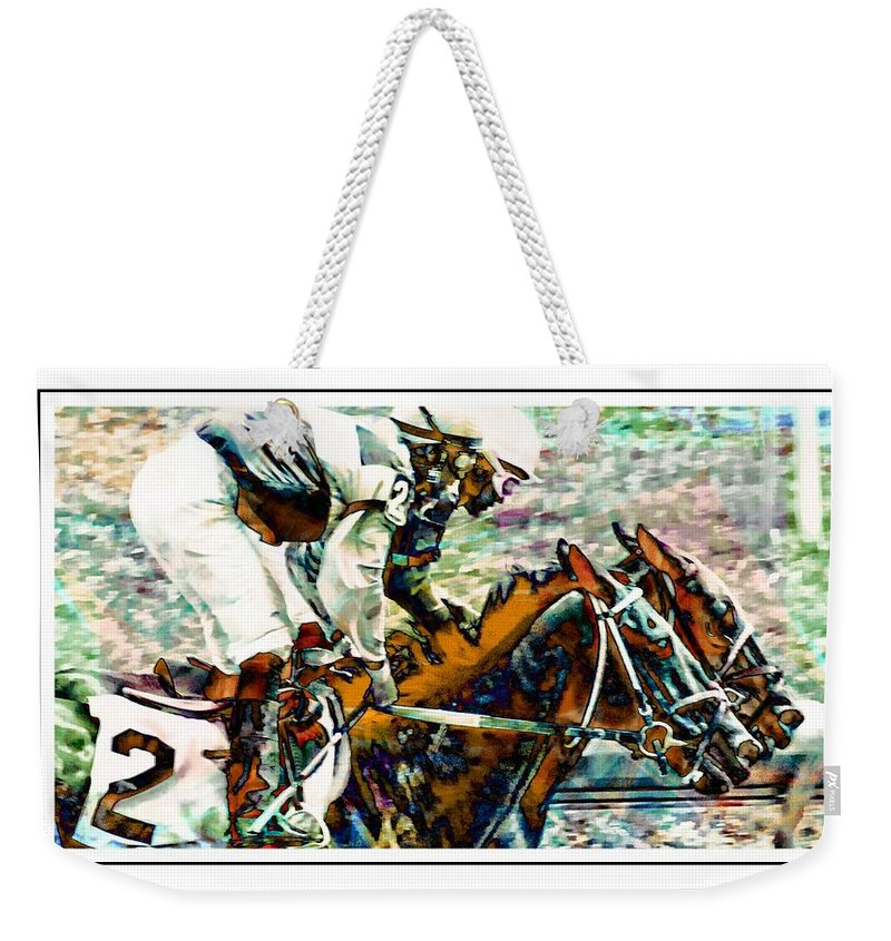 Horseracing Weekender Tote Bag featuring the photograph Running Chrome by Alice Gipson