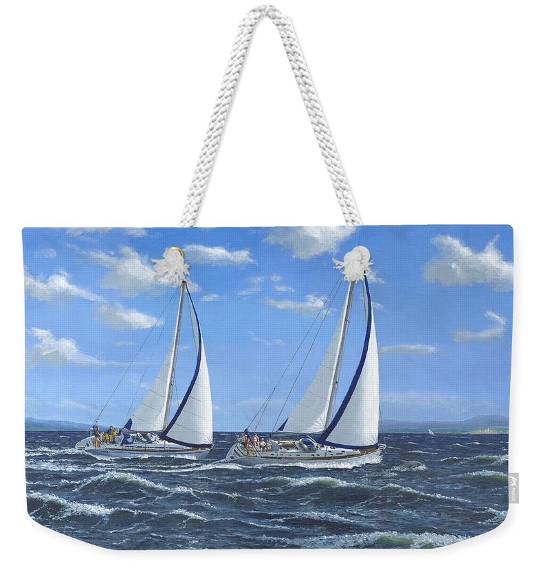 Landscape Weekender Tote Bag featuring the painting Running Close Hauled by Richard Harpum