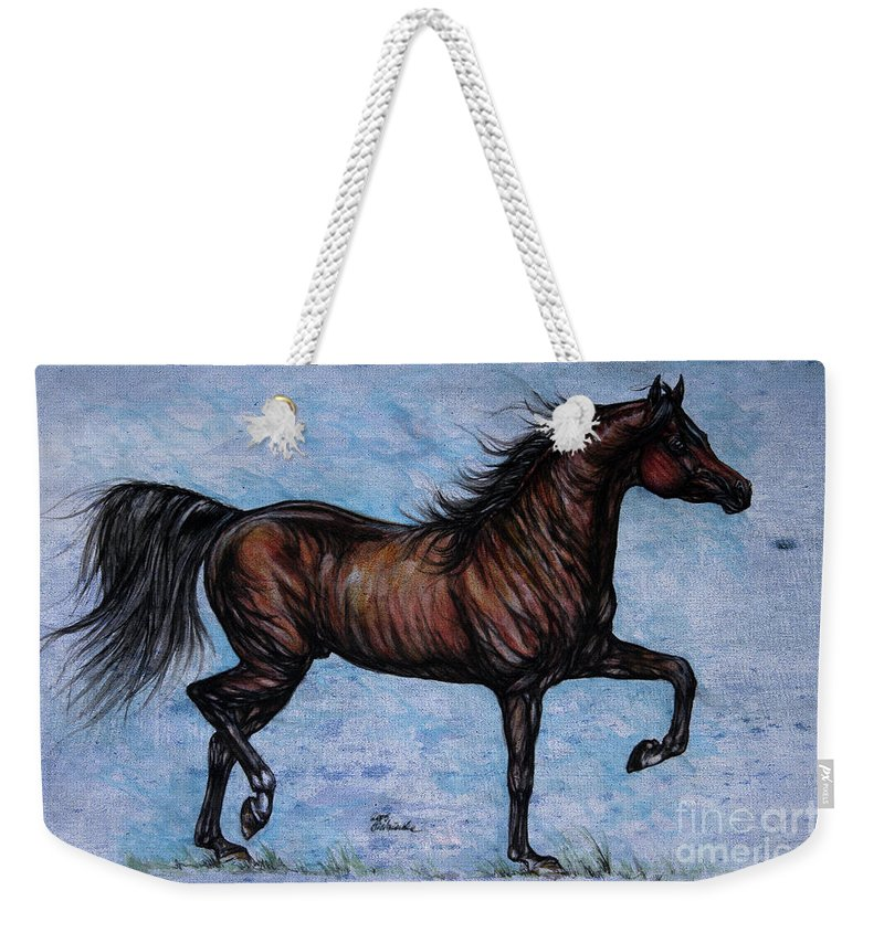 Horse Weekender Tote Bag featuring the painting Running In The Blue by Angel Ciesniarska