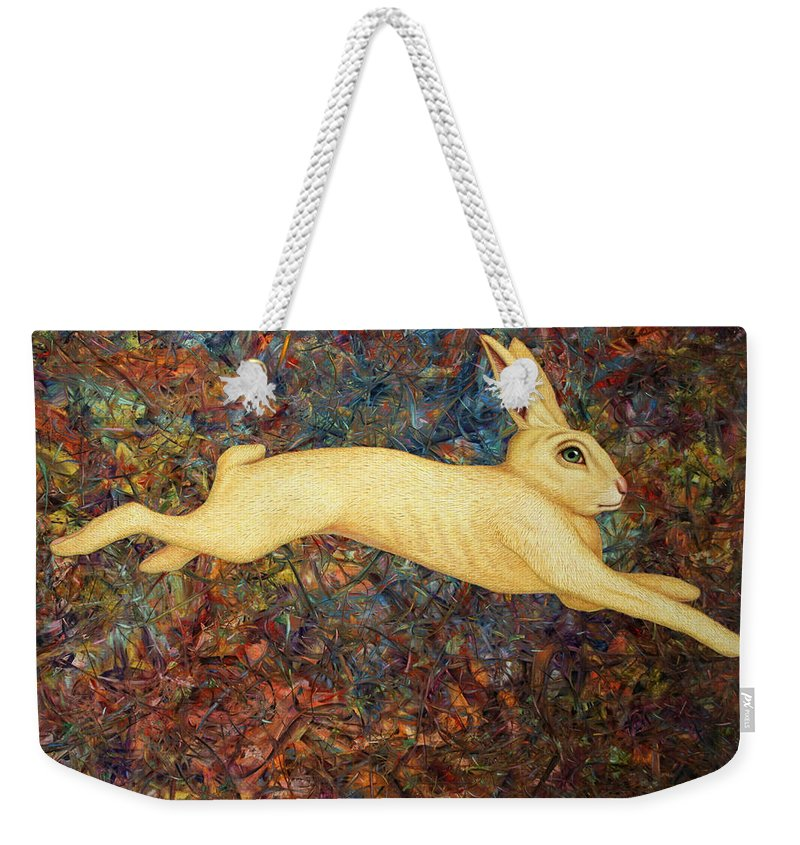 Rabbit Weekender Tote Bag featuring the painting Running Rabbit by James W Johnson