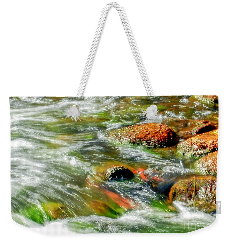 River Weekender Tote Bag featuring the photograph Running River by Optical Playground By MP Ray