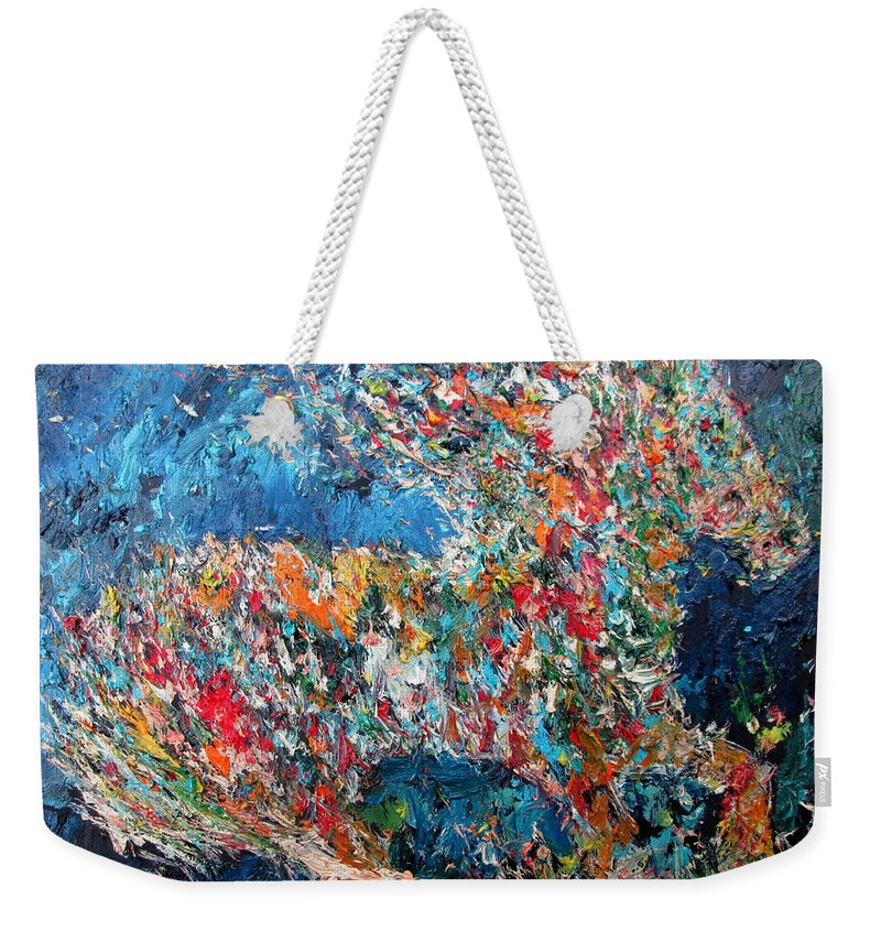 Horse Weekender Tote Bag featuring the painting Running Stallion - Oil Portrait by Fabrizio Cassetta