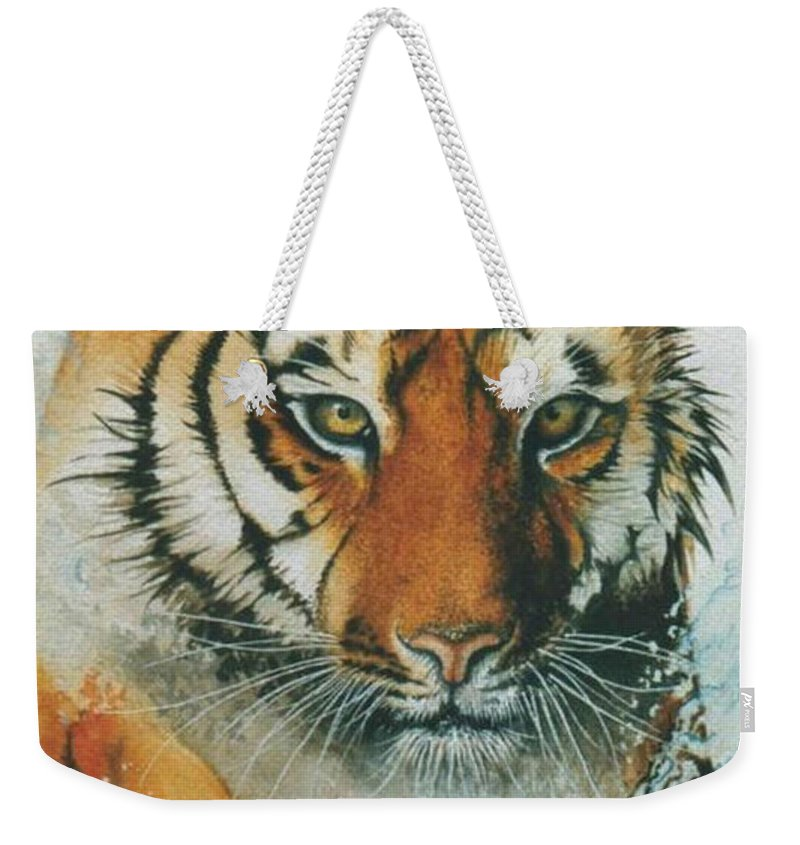 Tiger Weekender Tote Bag featuring the painting Running Tiger by Alan Pickersgill