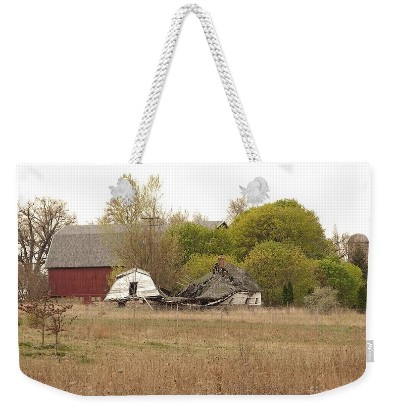 Barn Weekender Tote Bag featuring the photograph Rural Backstory by Ann Horn