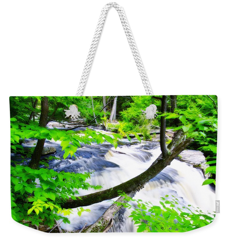 Rushing Weekender Tote Bag featuring the photograph Rushing Mountain Stream by Bill Cannon