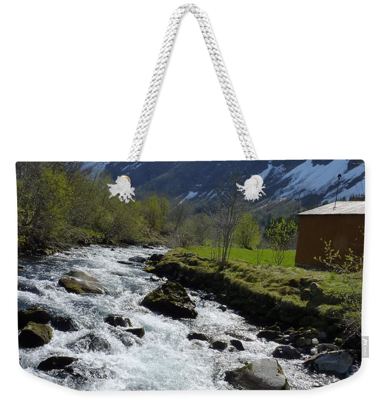 Weekender Tote Bag featuring the photograph Rushing Stream by Katerina Naumenko