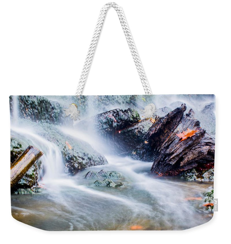 Water Weekender Tote Bag featuring the photograph Rushing Water by Parker Cunningham
