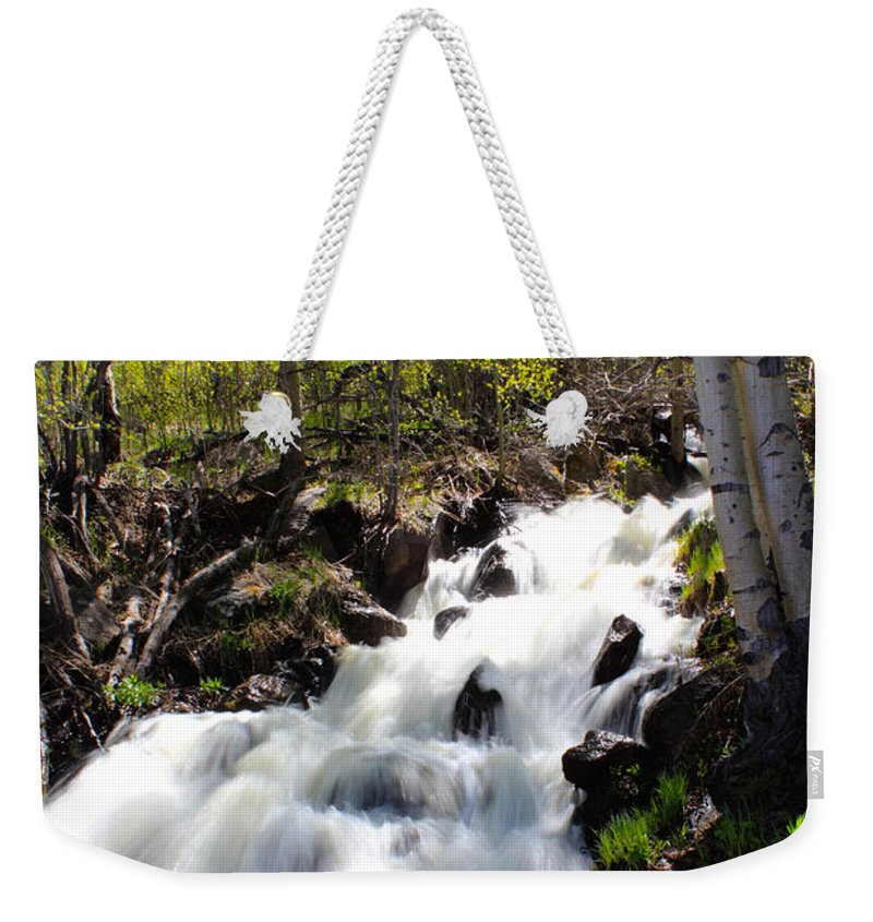 Waterfall Weekender Tote Bag featuring the photograph Rushing Water by Shane Bechler