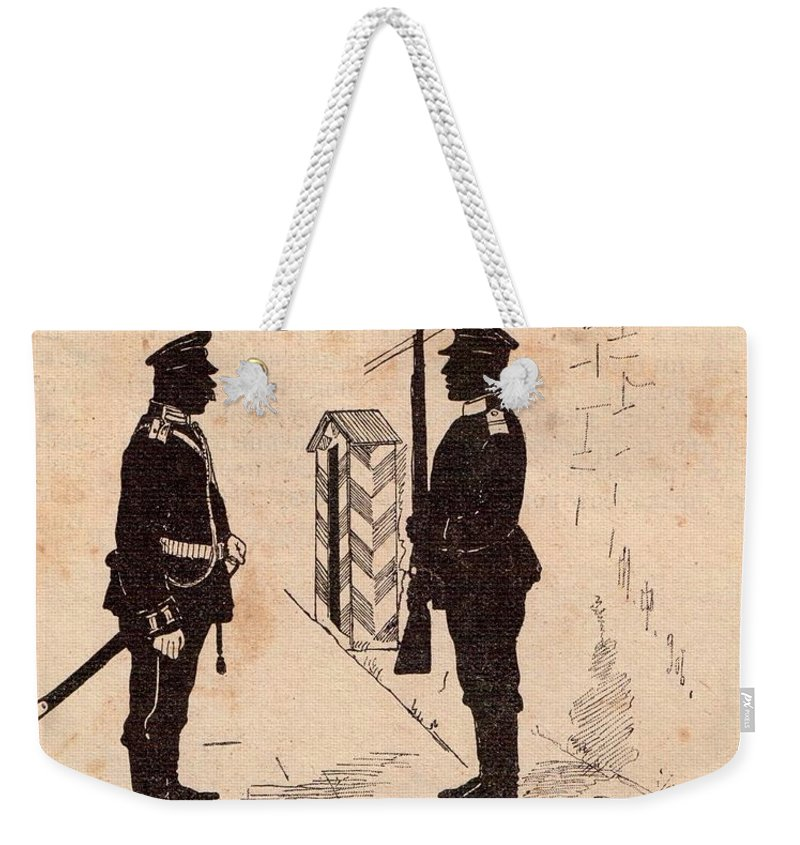 Soldiers Weekender Tote Bag featuring the drawing Russian Soldiers by Oleg Konin