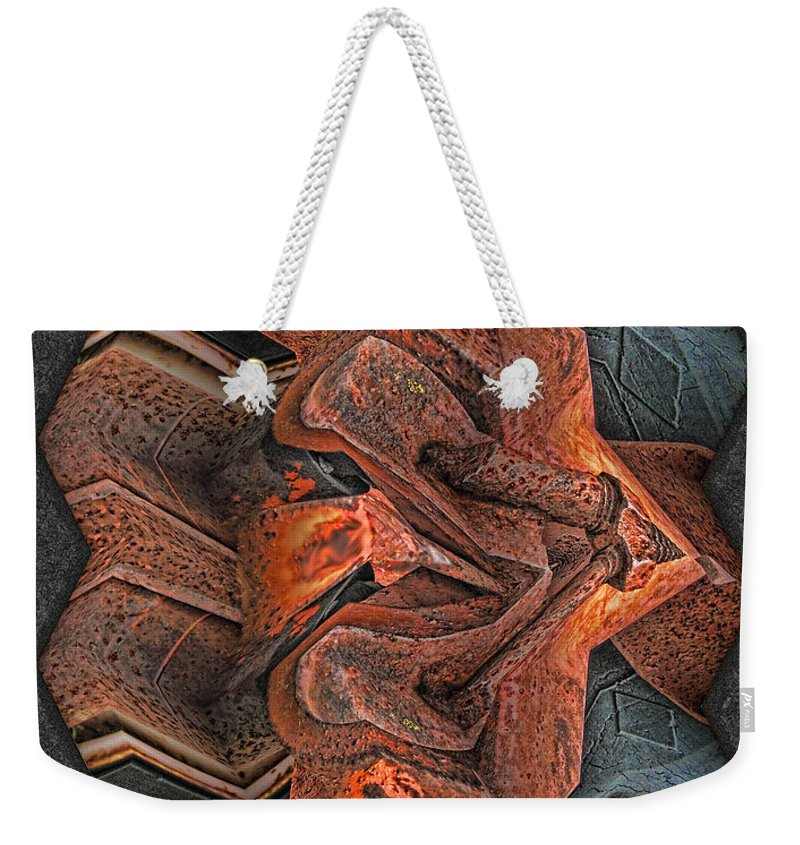 Abstract Weekender Tote Bag featuring the digital art Rust Flow by Wendy J St Christopher
