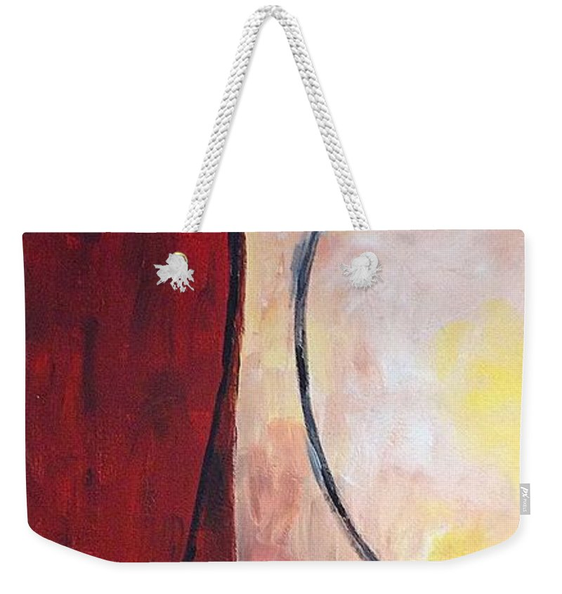 Rustic Weekender Tote Bag featuring the painting Rust by Sarah Jane Thompson