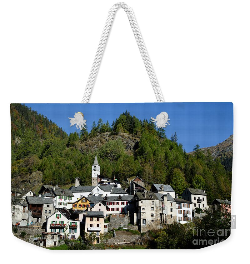 Village Weekender Tote Bag featuring the photograph Rustic Alpine Village by Mats Silvan