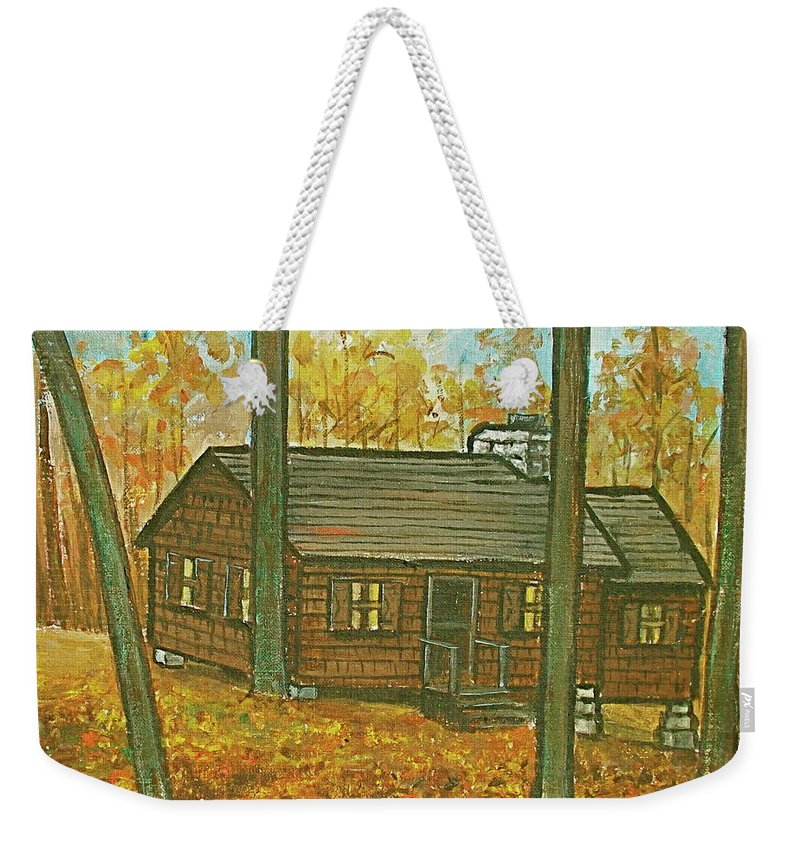 Brown Trees Cabin Fall Colors Weekender Tote Bag featuring the painting Rustic Cabin At Lake Hope Ohio by Frank Hunter