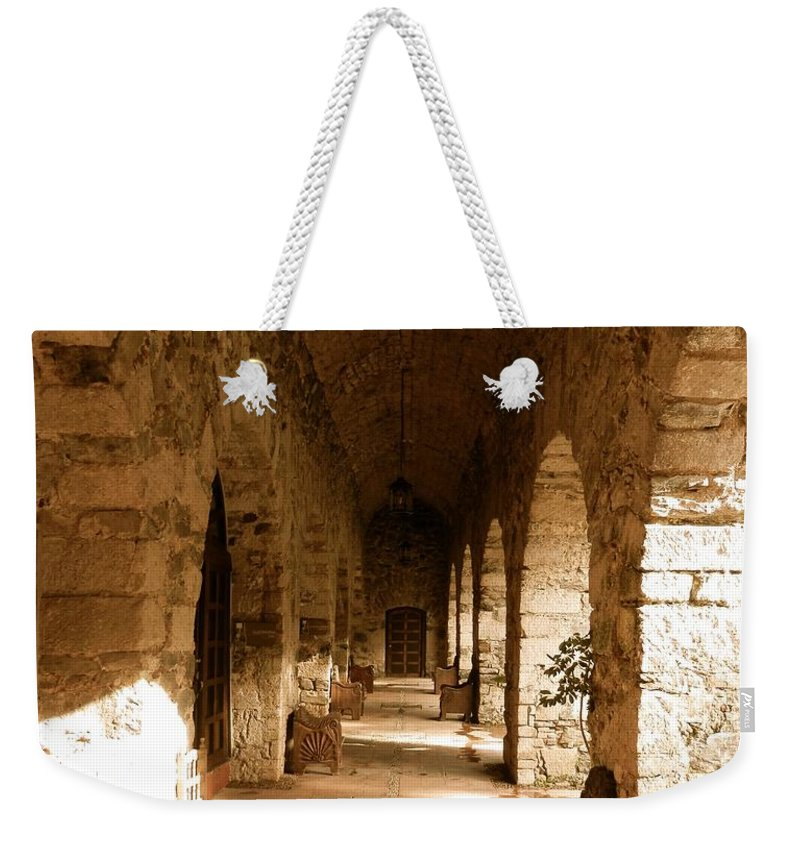 Century Weekender Tote Bag featuring the photograph Rustic Castle Inn Hall 3 by Joe Wyman