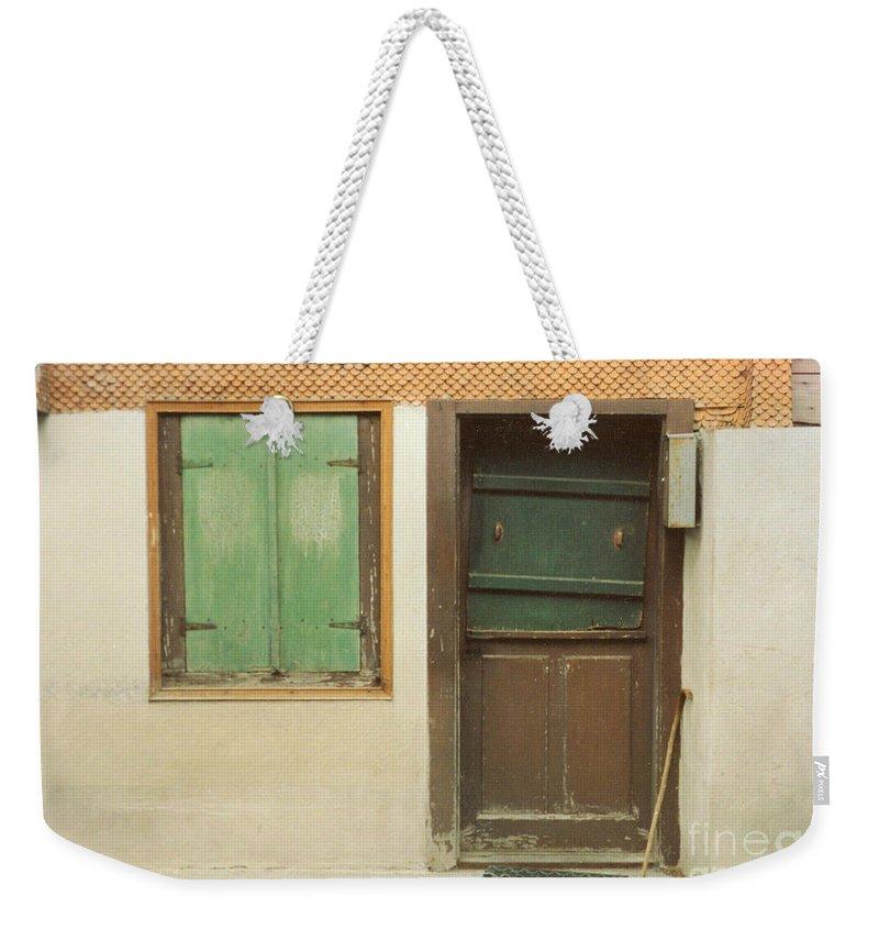 Wooden Door Weekender Tote Bag featuring the photograph Rustic Door by Christine Jepsen
