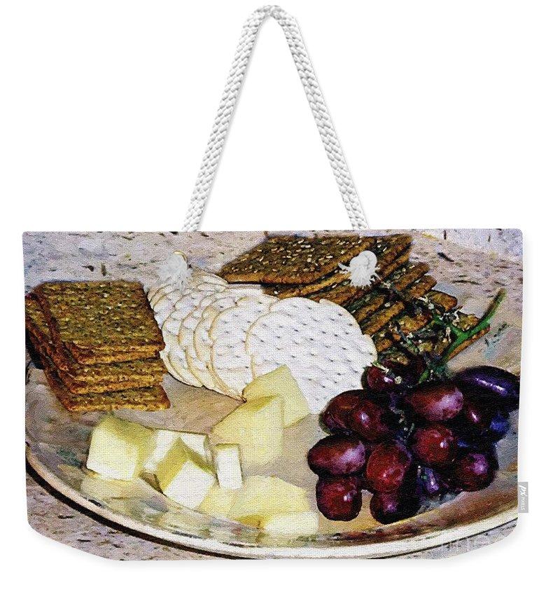 Cheese Weekender Tote Bag featuring the painting Rustic Repast by RC DeWinter