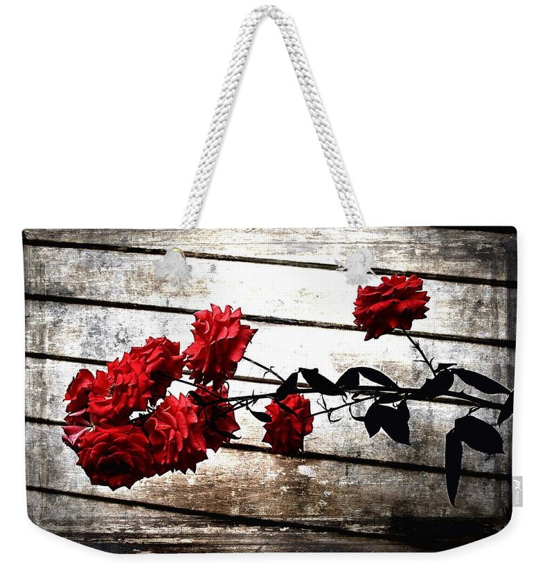 Rustic Rose Weekender Tote Bag featuring the photograph Rustic Rose by Debra Forand