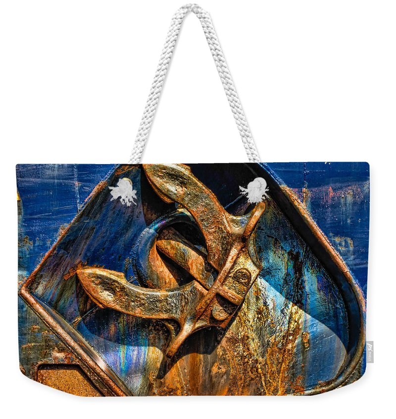 Anchor Weekender Tote Bag featuring the photograph Rusty Anchor by Boss Photographic