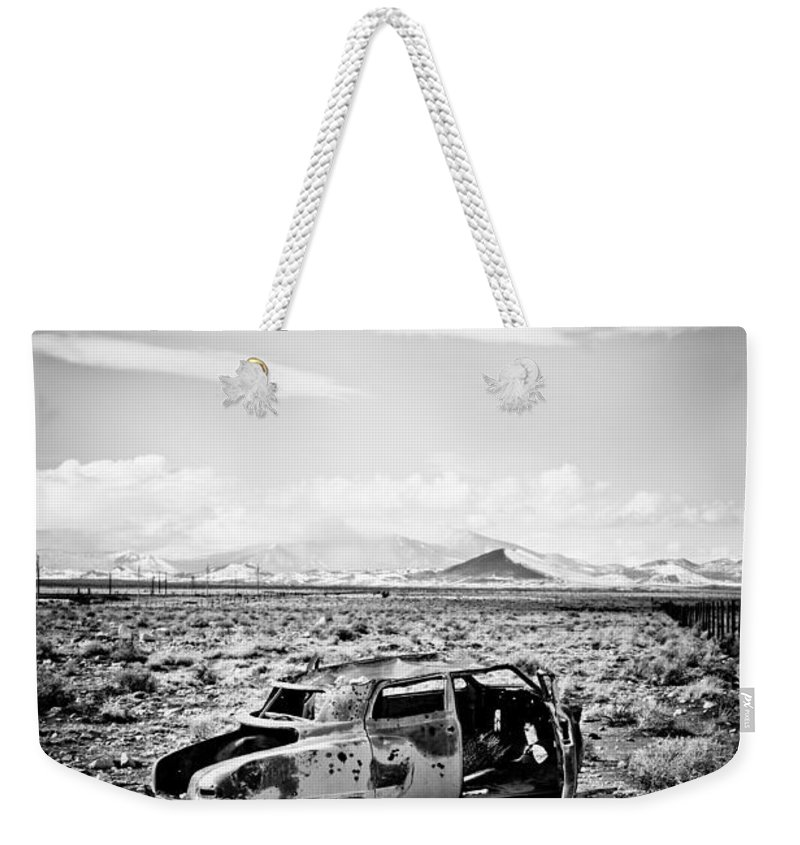 Old Car Weekender Tote Bag featuring the photograph Rusty Car In Snow 1 by Scott Sawyer