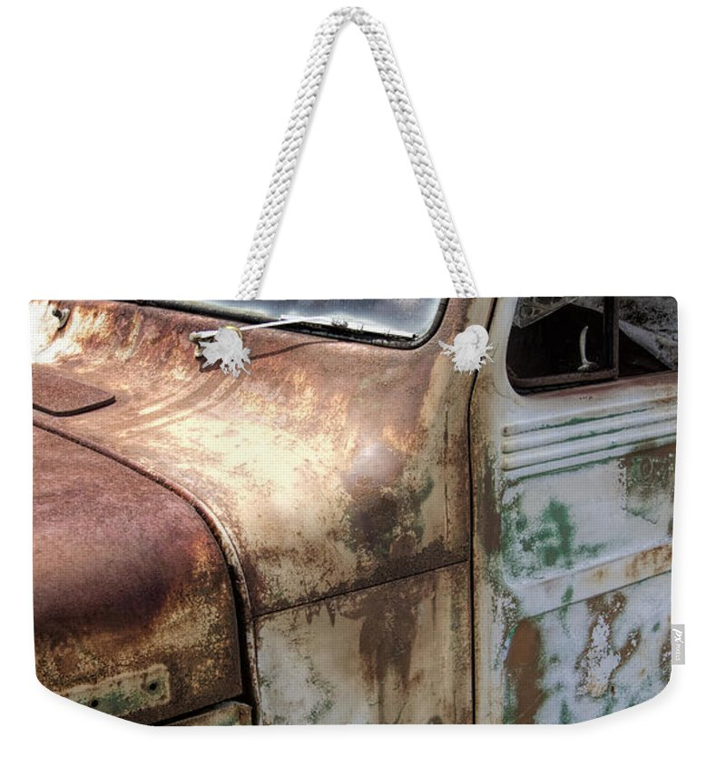 Willy's Weekender Tote Bag featuring the photograph Rusty Classic Willy's Jeep Pickup by Kathy Clark