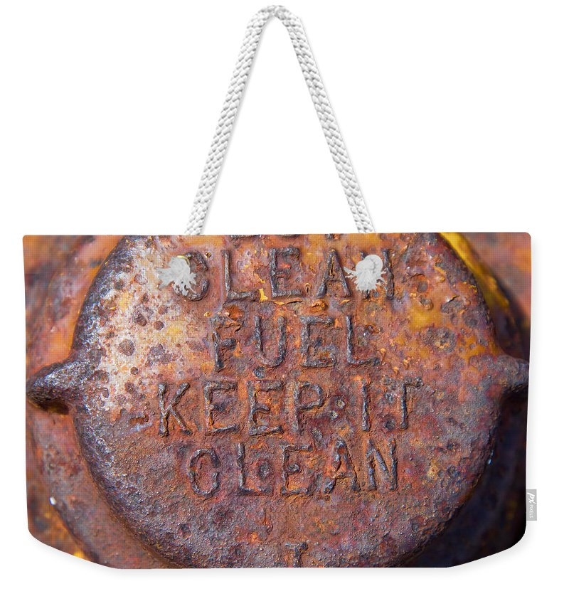 Old Weekender Tote Bag featuring the photograph Rusty Gas Tank Cap by Les Palenik