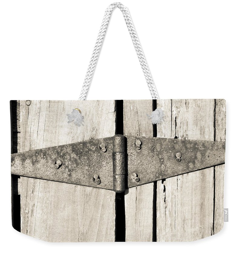 Hinge Weekender Tote Bag featuring the photograph Rusty Hinge 2 by Nick Kirby