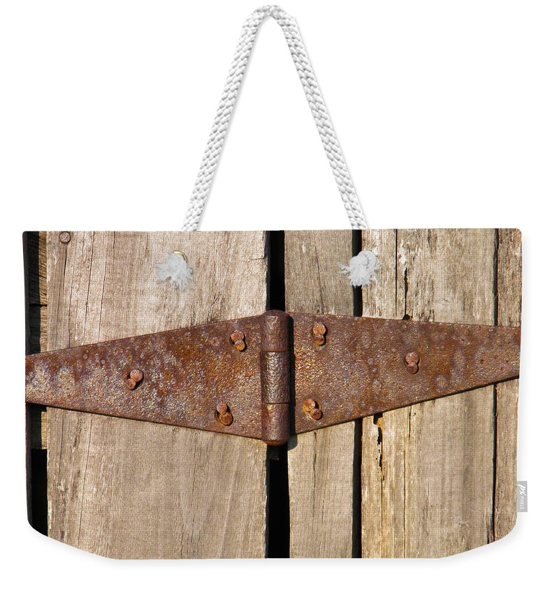 Barn Weekender Tote Bag featuring the photograph Rusty Hinge by Nick Kirby