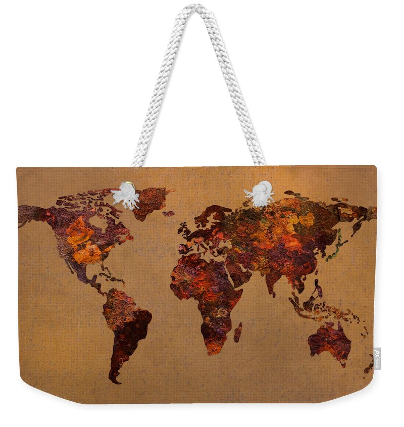 Rusty vintage world map on old metal sheet wall weekender tote bag rusty weekender tote bag featuring the mixed media rusty vintage world map on old metal sheet gumiabroncs Image collections