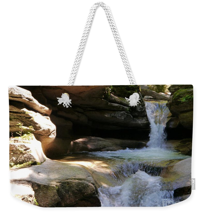 Fall Weekender Tote Bag featuring the photograph Sabbaday Falls Gorge by Christiane Schulze Art And Photography