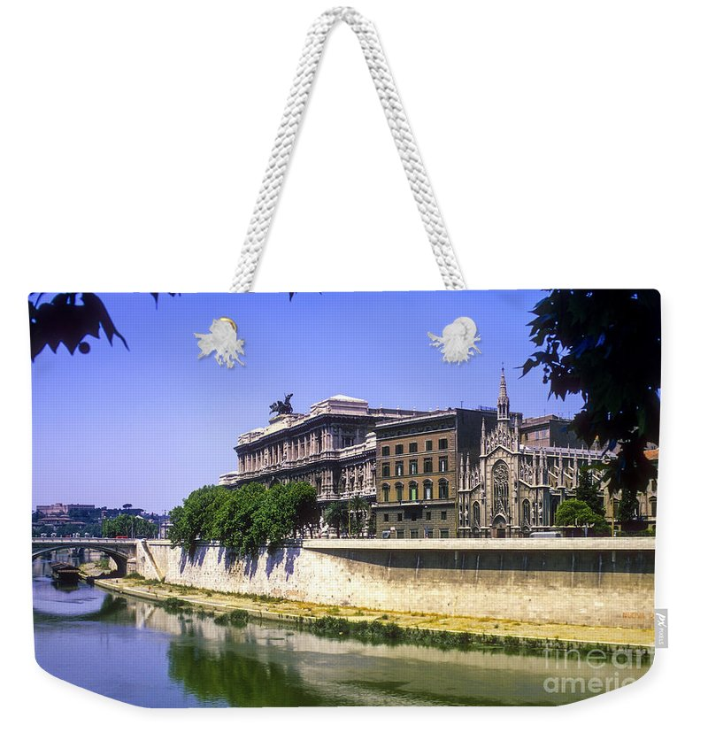 Sacra Cure Del Suffrage Church Smallest Church Rivers Churches Tiber River City Cities Bridge Bridges Water Rome Tiber River Building Buildings Structure Structures Cityscape Cityscapes Weekender Tote Bag featuring the photograph Saccro Cuore Del Suffragio by Bob Phillips