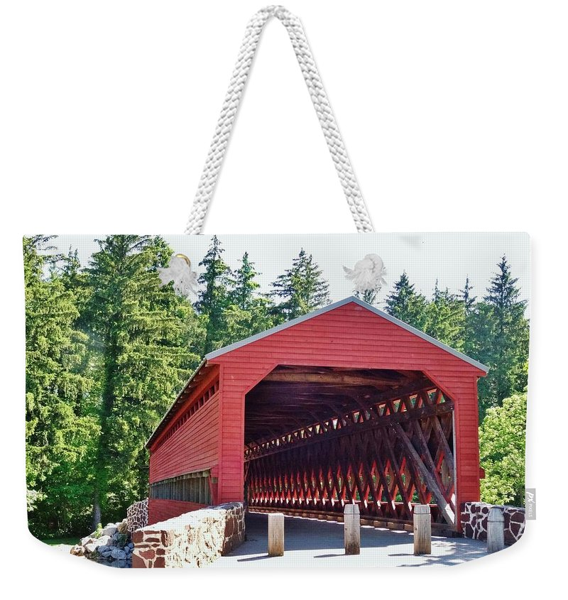 Sachs Weekender Tote Bag featuring the photograph Sachs Covered Bridge 4 by Scenic Sights By Tara