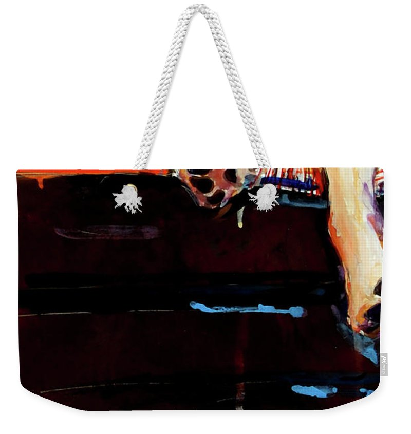Dog Sleeping Weekender Tote Bag featuring the painting Sacked by Molly Poole