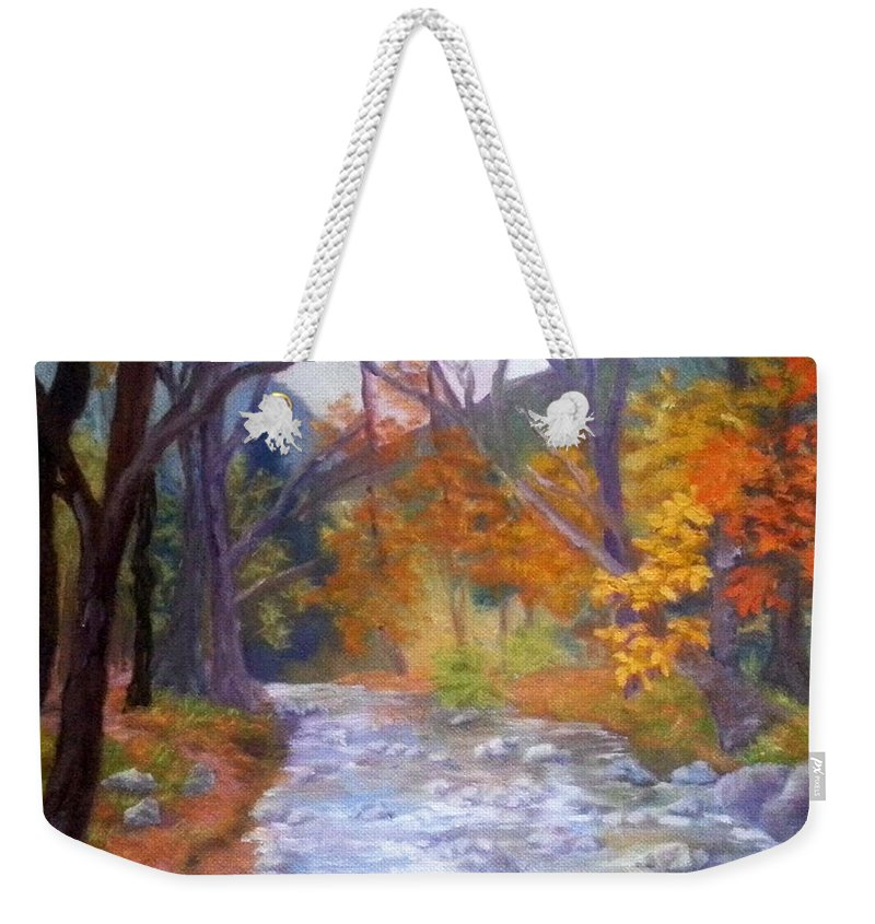 Saco Weekender Tote Bag featuring the painting Saco Creek by Sharon E Allen