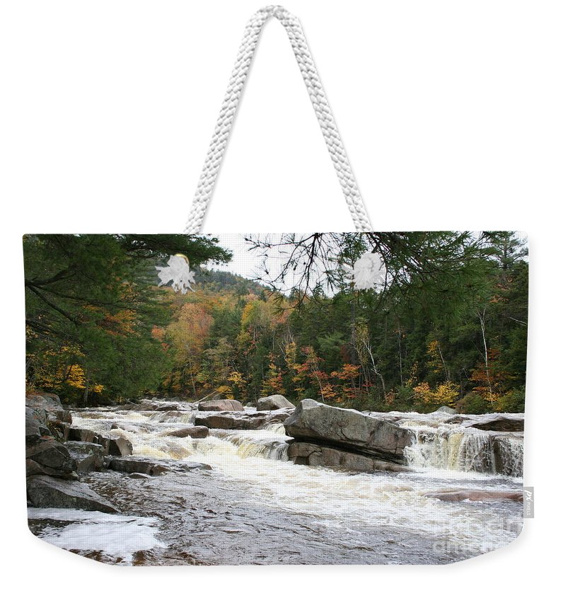 River Weekender Tote Bag featuring the photograph Saco River Rapids North Conway I by Christiane Schulze Art And Photography