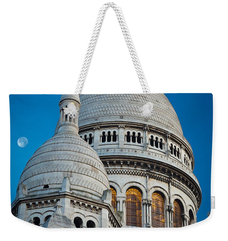Christianity Weekender Tote Bag featuring the photograph Sacre-coeur And Moon by Inge Johnsson