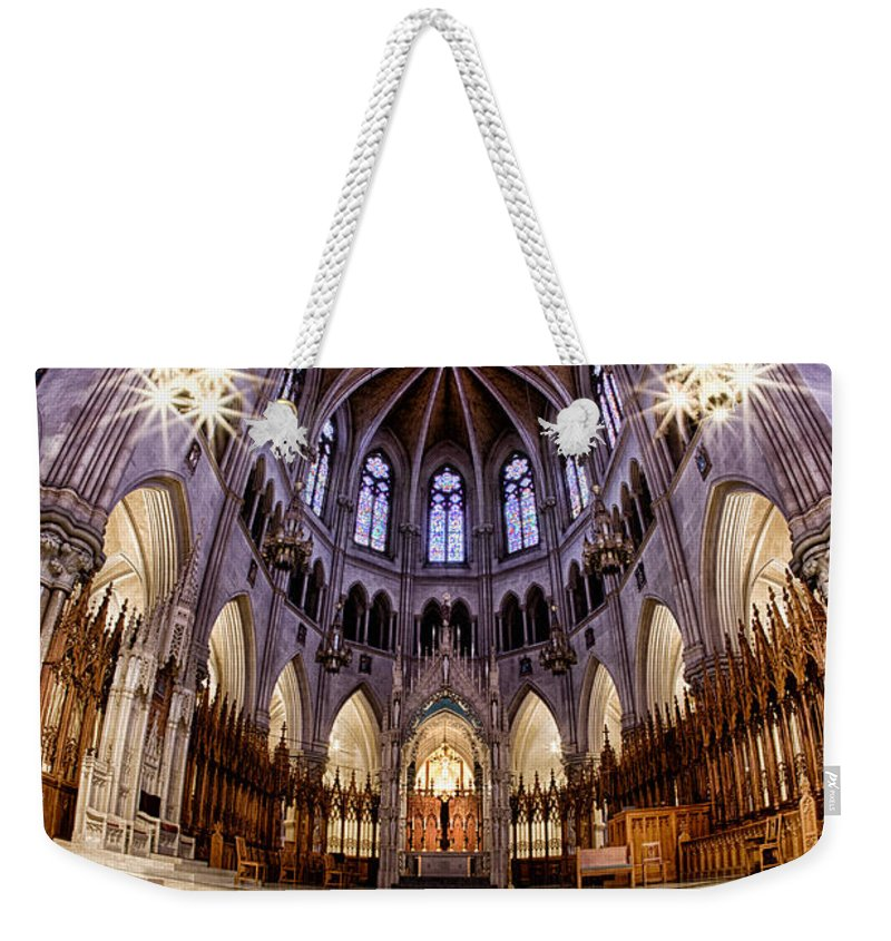 Church Weekender Tote Bag featuring the photograph Sacred Heart Sanctuary by Jerry Fornarotto
