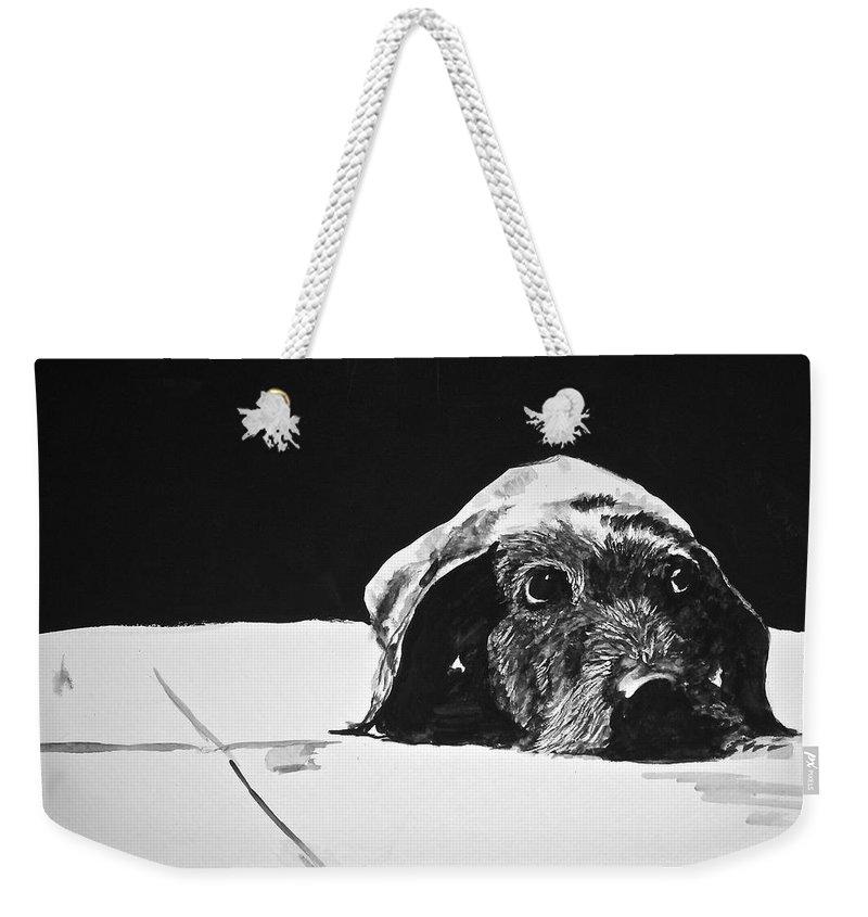 Dog Art Weekender Tote Bag featuring the painting Sad Dog by Carol Blackhurst