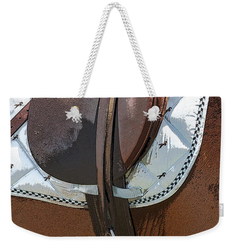 Rocking Horse Stables Weekender Tote Bag featuring the photograph Saddle Ready by Rich Franco